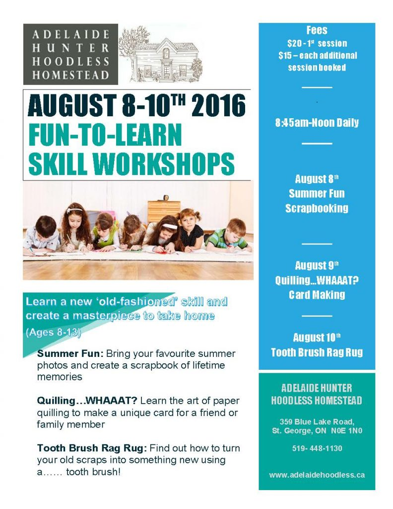 Children's Fun to Learn Skill Workshops Poster Aug 2016
